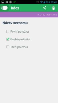 Zobrazení seznamu v aplikaci Pushbullet