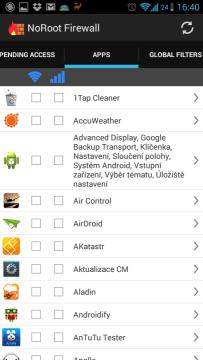 Sekce Apps se seznamem aplikací