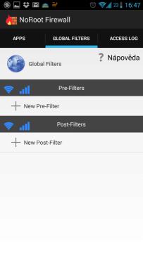 Sekce s globálními filtry