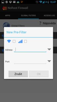 Vytváření nového Pre-filtru