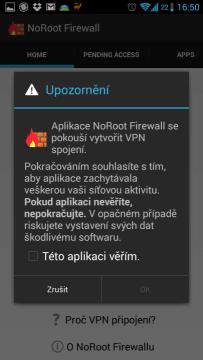 Požadavek na vytvoření VPN