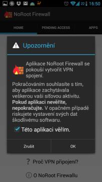 S vytvořením VPN je nutné souhlasit