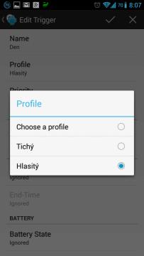 Přiřadíme profil Hlasitý