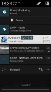 Ovládání chůvičky přes notifikační lištu