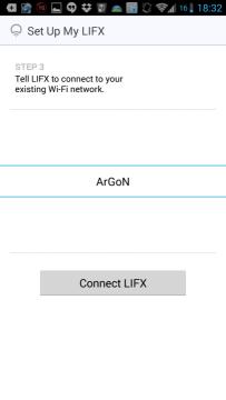 Volba Wi-Fi sítě, do které má být žárovka připojena