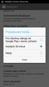 Požadavek na heslo při nákupu