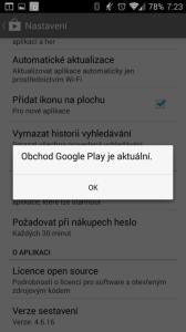 Kontrola aktualizací Obchodu Play