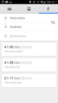 Mapy: navigace pro pěší