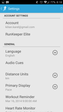 Runkeeper: možnosti nastavení