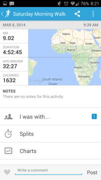 Runkeeper: záznam aktivity