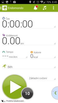 Endomondo Sports Tracker: úvodní obrazovka