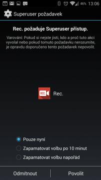 Rec. (Screen Recorder) vyžaduje k fungování práva roota