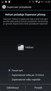 Helium testuje práva roota