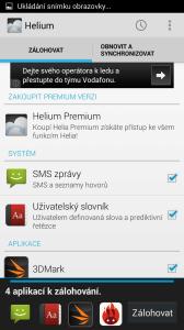 Sekce Zálohovat - výběr aplikací