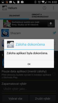 Záloha aplikací dokončena
