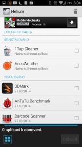 Výběr aplikací k obnovení