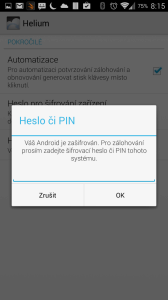 Nastavení hesla pro zálohy v aplikaci Helium