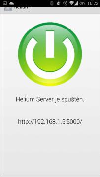 Server je spuštěn a jeho IP adresa a port