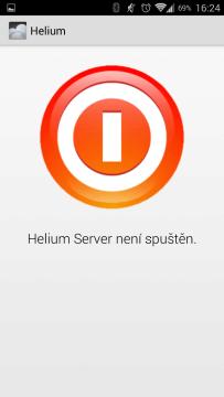 Helium Server není spuštěn