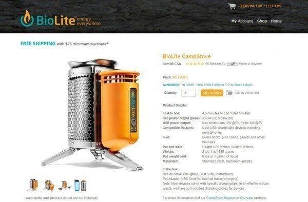 BioLite CampStove můžete objednat na oficiálních stránkách za cenu 129,95 dolarů
