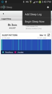 Fitbit Flex aplikace spánek
