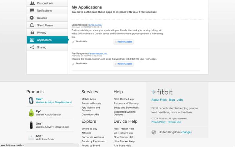 Fitbit Flex webové rozhraní aplikace
