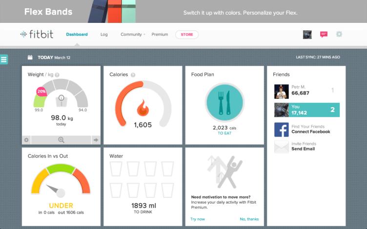 Fitbit Flex webové rozhraní nástěnka