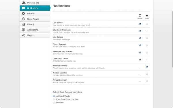 Fitbit Flex webové rozhraní notifikace