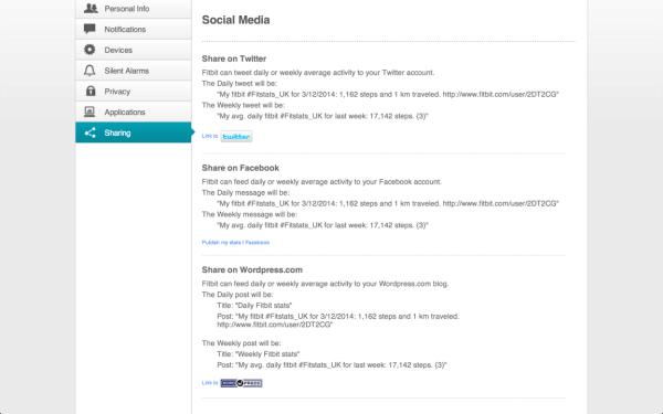 Fitbit Flex webové rozhraní sdílení