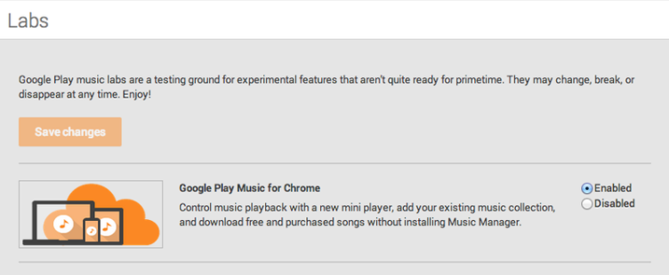 Položka Google Play Music for Chrome v laboratoři