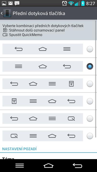 Výběr kombinace tlačítek na telefonu LG G2