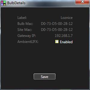 Tlačítko Details zobrazí informace o názvu, MAC adrese a IP adrese