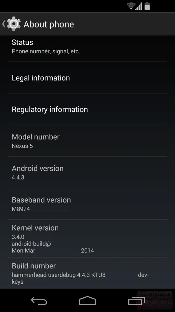 Nexus 5 s testovacím sestavením Androidu 4.4.3