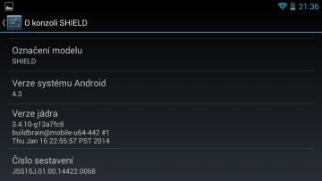 nvidia shield informace o systému