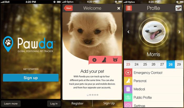Aplikace Pawda pro mobilní telefony