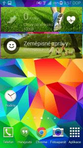 Samsung Galaxy S5 domovká obrazovka zeměpisné zprávy