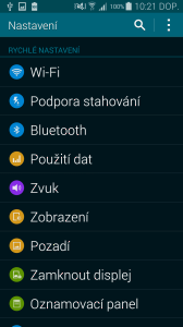 Samsung Galaxy S5 nastavení seznam