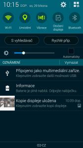 Samsung Galaxy S5 notifikační lišta