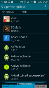 Samsung Galaxy S5 vnitřní úložiště