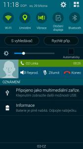 Samsung Galaxy S5 widget v notifikační liště