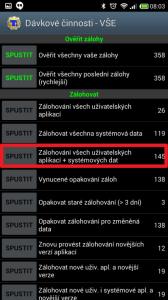 Zálohování všech uživatelských aplikací + systémových dat