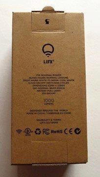 Žárovka LIFX - krabička: technické parametry