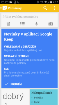 Keep 2.2: Novinky v aplikaci