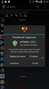 Po prvním spuštění AFWall+ požádá o práva roota