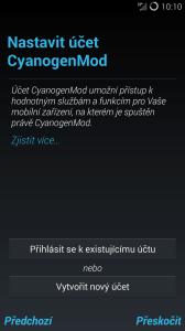 Přihlášení k účtu CyanogenMod