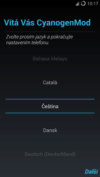 CyanogenMod 11: volba jazyka