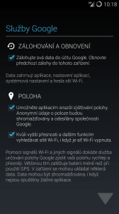 Zálohování a obnovení dat do/z účtu Google a povolení přístupu k poloze