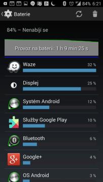 Spotřeba baterie při použití navigace Waze