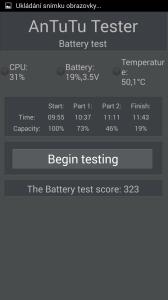 Test akumulátoru v benchmarku AnTuTu tester
