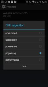 Nastavení výkonu: procesor